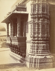 South façade of Rani Sipri's Mosque, Ahmadabad, from south-east corner, showing base of minaret and end window 10031691